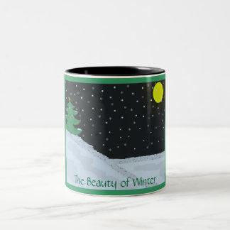 Skönheten av vintern Två-Tonad mugg