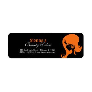 Skönhetsalong (orangen) returadress etikett