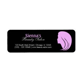 Skönhetsalong (plommonet) returadress etikett