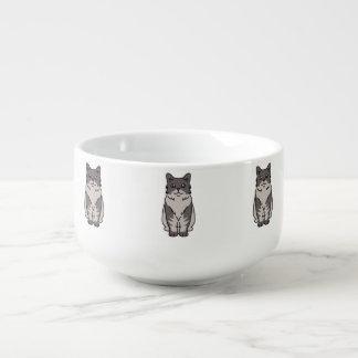 Skookum katttecknad kopp för soppa