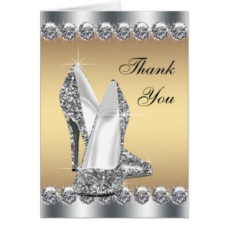 Skor den guld- kickhälet för silver tackkort OBS kort
