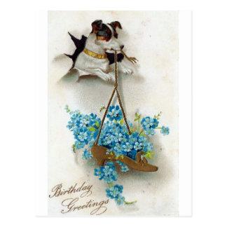 Skor den gulliga hunden för födelsedaghälsningar vykort