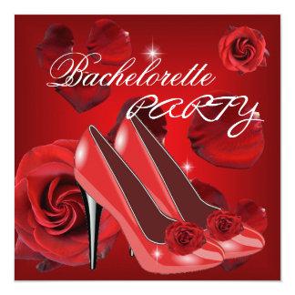 Skor den höga hälet för Bachelorette partyröd ros Fyrkantigt 13,3 Cm Inbjudningskort