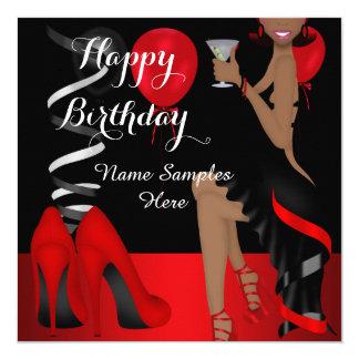 Skor den röda svarten för födelsedagsfest etnisk fyrkantigt 13,3 cm inbjudningskort