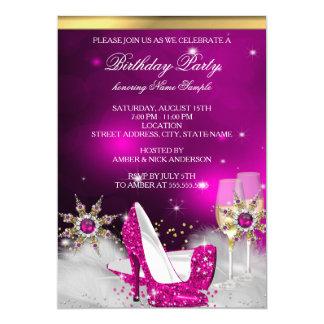 Skor den rosa kickhälet för glitter 12,7 x 17,8 cm inbjudningskort