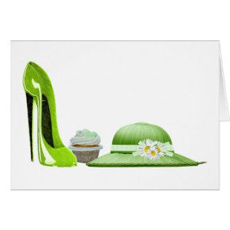 Skor muffin- hattden gröna stiletten för hälsningskort