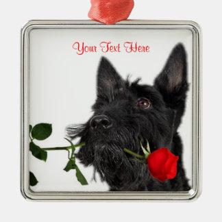 Skotsk design för valentin för Terriervalpröd ros Julgransprydnad Metall