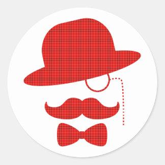 Skotsk herr med moustachen runt klistermärke
