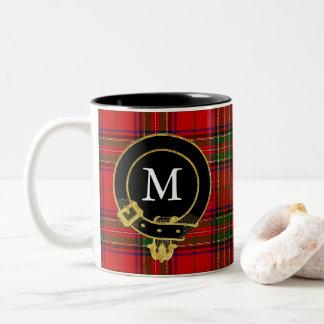 Skotsk Tartan för klanvapensköldMonogram Två-Tonad Mugg