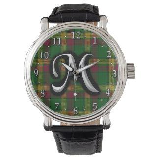 Skotsk Tartan för Monogram för klanMacMillan brev Armbandsur