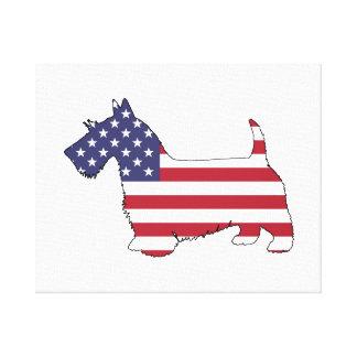 """Skotsk terrier - """"amerikanska flaggan """", canvastryck"""