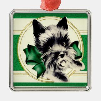 Skotsk Terrier för vintageScottie på grön prydnad Julgransprydnad Metall