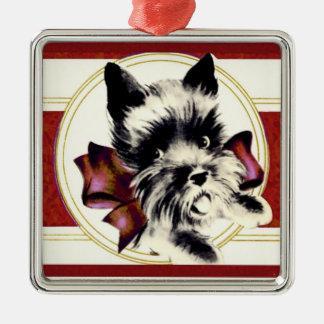 Skotsk Terrier för vintageScottie på röd prydnad Julgransprydnad Metall