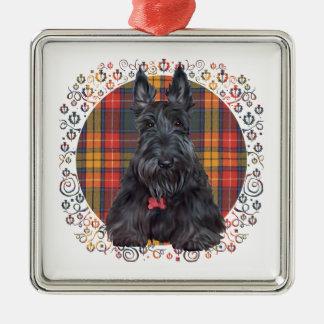 Skotsk Terrier på tartanen Julgransprydnad Metall
