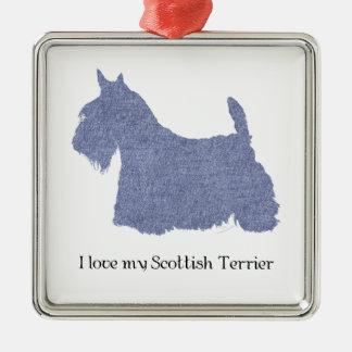 Skotsk TerrierSilhouette i Denim Julgransprydnad Metall