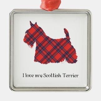 Skotsk TerrierStewart Tartan Julgransprydnad Metall