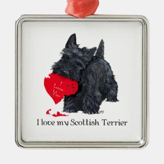 Skotsk Terriervalentin Julgransprydnad Metall
