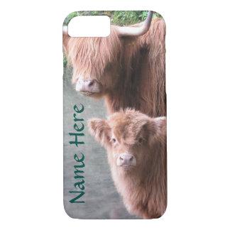 Skotskt höglands- nötkreatur, ko och kalv