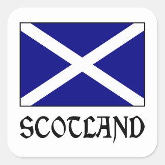 Skottland flagga & ord fyrkantigt klistermärke