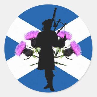 Skottland pipblåsare, St Andrews kor, thistle Runt Klistermärke