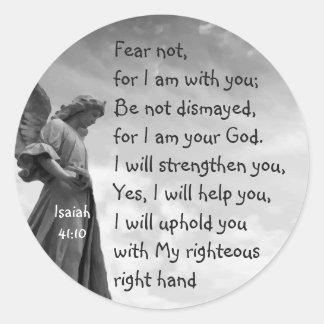Skräck inte, Isaiah Scripture som tröstar ängel Runt Klistermärke