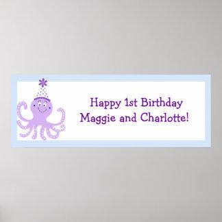 Skräddarsy baner för födelsedag för lilapartybläck poster