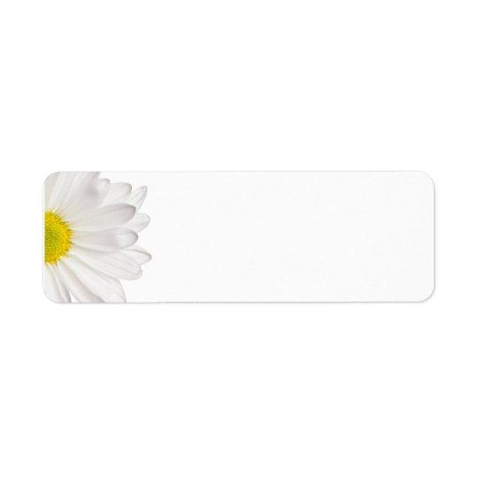 Skräddarsy daisy för vitdaisyblomma bakgrund returadress etikett