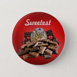 Skräddarsy den mest sweetest dagchokladjordekorren standard knapp rund 5.7 cm