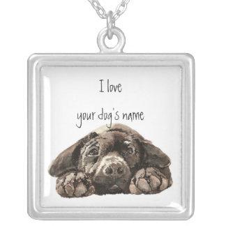 Skräddarsy detta som jag älskar min hundsvart Labr Silverpläterat Halsband