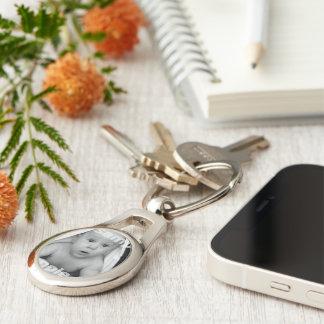 Skräddarsy din egna unika personlig ovalt silverfärgad nyckelring