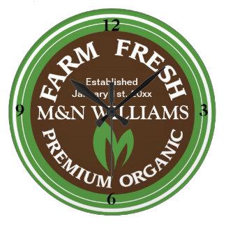 Skräddarsy din kända organiska lantgårdlogotyp stor klocka