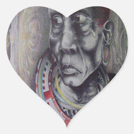 Skräddarsy för Maasai för afrika kenyansk Hjärtklistermärken