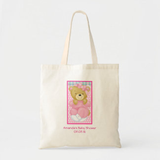 Skräddarsy gullig rosabjörnbaby shower budget tygkasse