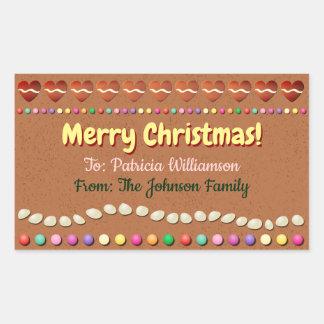 Skräddarsy julaftongåvaetikett - pepparkakakaka rektangulärt klistermärke