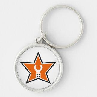 Skräddarsy min Minifig affärslogotyp Rund Silverfärgad Nyckelring