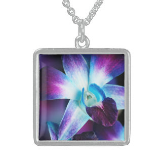 Skräddarsy Orchids för lila- & blåttDendrobium Sterling Silver Halsband