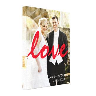 Skräddarsy personlig gifta sig fotoKÄRLEKhandstil Canvastryck