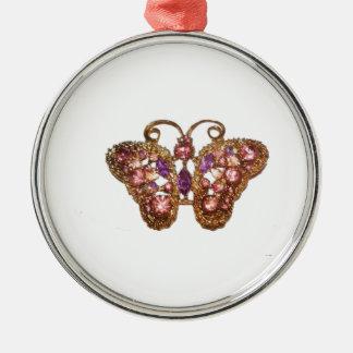 Skräddarsy rosa lilor för juvelgnistrafjäril rund silverfärgad julgransprydnad