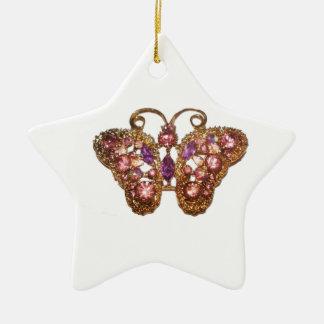 Skräddarsy rosa lilor för juvelgnistrafjäril stjärnformad julgransprydnad i keramik