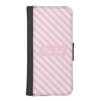 Skräddarsy rosa randar för diagonal blommar plånboksfodral för iPhone SE/5/5s