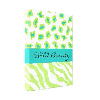 Skräddarsy sebra & Cheetah för limefruktgrönt- & Canvastryck