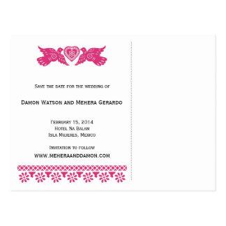 Skräddarsy spara dateravykortet - rosa vykort