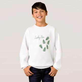 Skraj bästa mönsterlångärmad för lycklig grön Fern Tee Shirt