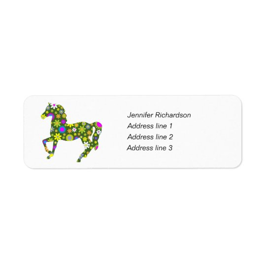 Skraj blom- beställnings- returetiketter för häst returadress etikett