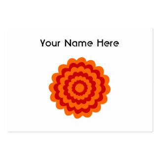 Skraj blomma i orange och Red. Set Av Breda Visitkort