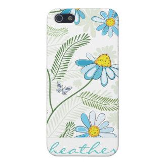 Skraj daisymönster för blått iPhone 5 skydd