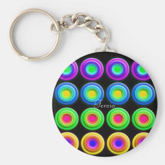 Skraj färgrik 3D cirklar Rund Nyckelring