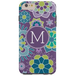 Skraj färgrik blommönsteranpassningsbarMonogram Tough iPhone 6 Plus Skal