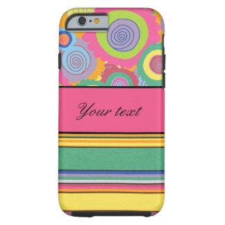 Skraj färgrika blommor och randar tough iPhone 6 case