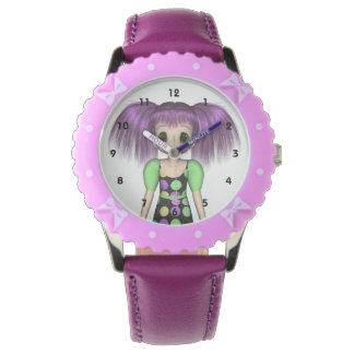 Skraj flickaklocka för Anime Armbandsur